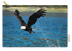 Carry-all Pouch featuring the photograph Bald Eagle Fishing by Don Schwartz