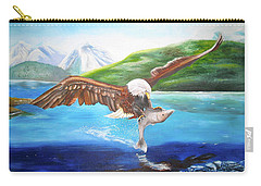 Carry-all Pouch featuring the painting Bald Eagle Having Dinner by Thomas J Herring