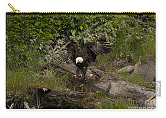 Carry-all Pouch featuring the photograph Bald Eagle-signed-#1249 by J L Woody Wooden