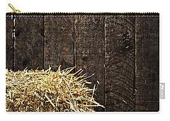 Bale Of Straw And Wooden Background Carry-all Pouch