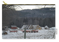 Carry-all Pouch featuring the photograph Bales Of Hay by Brenda Brown
