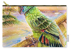 Banana Tree And Tropical Bird Carry-all Pouch by Bernadette Krupa