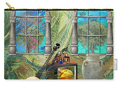 Carry-all Pouch featuring the mixed media Banjo Room by Ally  White