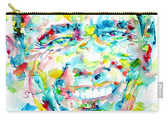 Barack Obama - Watercolor Portrait Carry-all Pouch by Fabrizio Cassetta