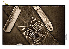 Barber - Tools For A Close Shave - Black And White Carry-all Pouch by Paul Ward