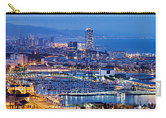 Barcelona Cityscape By Night Carry-all Pouch