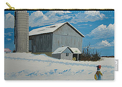Carry-all Pouch featuring the painting Barn And Pheasant by Norm Starks