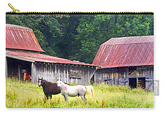 Barns And Horses Near Mills River Nc Carry-all Pouch