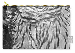 Barred Owl In Black And White Carry-all Pouch by John Telfer