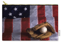 Baseball And American Flag Carry-all Pouch