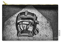 Baseball Catchers Mask Vintage In Black And White Carry-all Pouch by Paul Ward