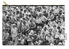 Baseball Fans In The Bleachers At Yankee Stadium. Carry-all Pouch by Underwood Archives