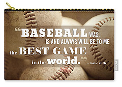 Baseball Print With Babe Ruth Quotation Carry-all Pouch by Lisa Russo