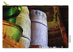 Carry-all Pouch featuring the photograph Baskets And Barrels In Attic by Susan Savad