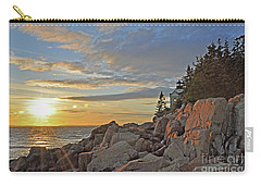 Carry-all Pouch featuring the photograph Bass Harbor Lighthouse Sunset Landscape by Glenn Gordon