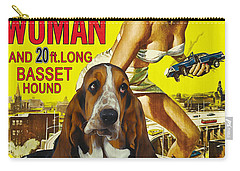 Basset Hound Art Canvas Print - Attack Of The 50ft Woman Movie Poster Carry-all Pouch