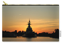 Carry-all Pouch featuring the photograph Battleship At Sunset by Cynthia Guinn