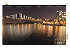 Carry-all Pouch featuring the photograph Bay Bridge Lights And City by Kate Brown