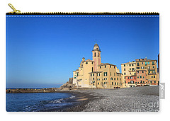 Carry-all Pouch featuring the photograph beach and church in Camogli by Antonio Scarpi