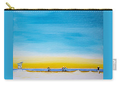 Carry-all Pouch featuring the painting Surfers On The Beach by Ben Gertsberg