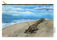 Carry-all Pouch featuring the painting Beach Drift Wood by Melly Terpening