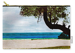 Carry-all Pouch featuring the drawing Beach Side by D Hackett