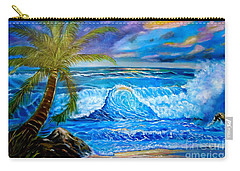 Carry-all Pouch featuring the painting Beach Sunset In Hawaii by Jenny Lee