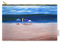 Carry-all Pouch featuring the painting Beach Umbrellas by Jamie Frier