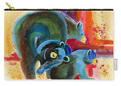 Carry-all Pouch featuring the painting Bear Family In Red by Kathy Braud