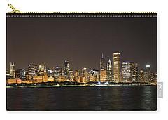 Beautiful Chicago Skyline With Fireworks Carry-all Pouch by Adam Romanowicz
