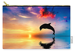 Beautiful Ocean And Sunset With Dolphin Jumping Carry-all Pouch