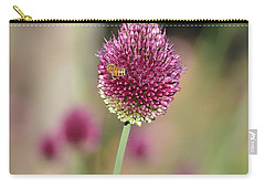 Beautiful Pink Flower With Bee Carry-all Pouch