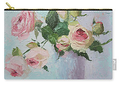 Beautiful Roses Oil Palette Knife Painting Carry-all Pouch