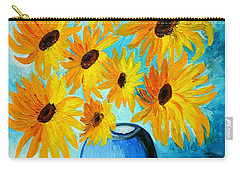 Carry-all Pouch featuring the painting Beautiful Sunflowers In Blue Vase by Ramona Matei
