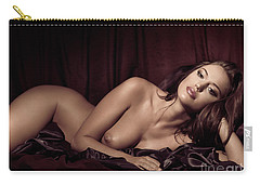 Beautiful Young Woman Lying Naked In Bed Carry-all Pouch