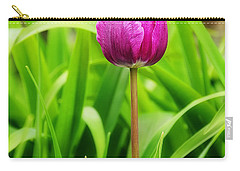 Beauty At A Glance- Purple Gems- Purple Tulips Rhode Island Tulips Purple Flower Carry-all Pouch by Lourry Legarde
