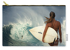 Surfer Girl Meets Jaws Carry-all Pouch by Bob Christopher