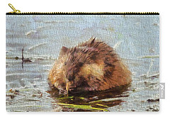 Beaver Portrait On Canvas Carry-all Pouch by Dan Sproul