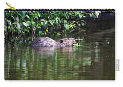beaver swims in NC lake Carry-all Pouch by Chris Flees