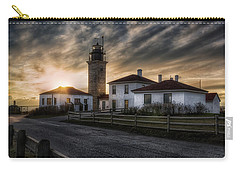 Beavertail Lighthouse Sunset Carry-all Pouch by Joan Carroll