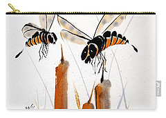 Carry-all Pouch featuring the painting Bee-ing Present by Bill Searle