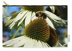 Carry-all Pouch featuring the photograph Bee On A Cone Flower by Lingfai Leung