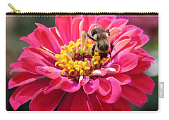 Carry-all Pouch featuring the photograph Bee On Pink Flower by Cynthia Guinn