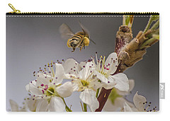 Bee Working The Bradford Pear 2 Carry-all Pouch by Allen Sheffield