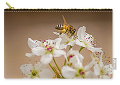 Bee Working The Bradford Pear 4 Carry-all Pouch by Allen Sheffield