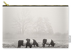 Belted Galloway Cows On Foggy Farm Field In Maine Carry-all Pouch