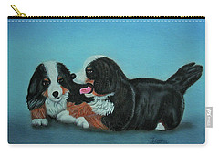 Carry-all Pouch featuring the painting Bernese Mountain Puppies by Thomas J Herring