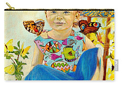 Carry-all Pouch featuring the painting Bianka And Butterflies by Henryk Gorecki
