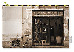 Bicycle And Reflections At L'antiquari Bar  Carry-all Pouch