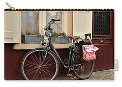 Bicycle With Baby Seat At Doorway Bruges Belgium Carry-all Pouch